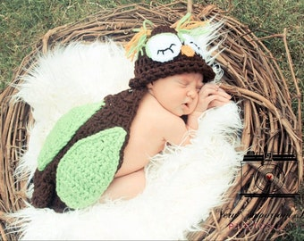 Owl Critter Cape - Choice of Hat - Newborn Photography Prop