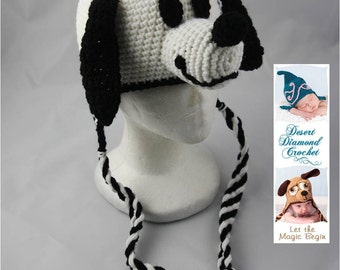 Crochet Pattern 045 - White Puppy Hat - All Sizes