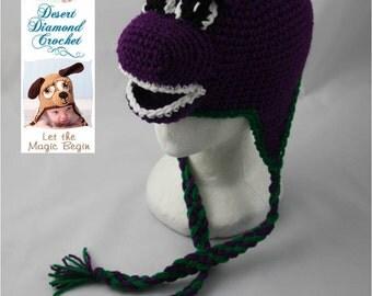 Crochet Pattern 050 - Purple Dinosaur Beanie Hat - All Sizes