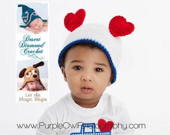 Crochet Pattern 010 - Heart Ears Beanie Hat - All Sizes