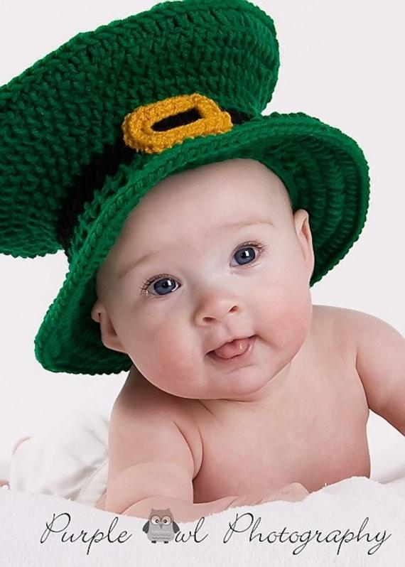 Crochet Baby Leprechaun Hat Pattern : St. Patrick Day Leprechaun Hat Photography Prop any size
