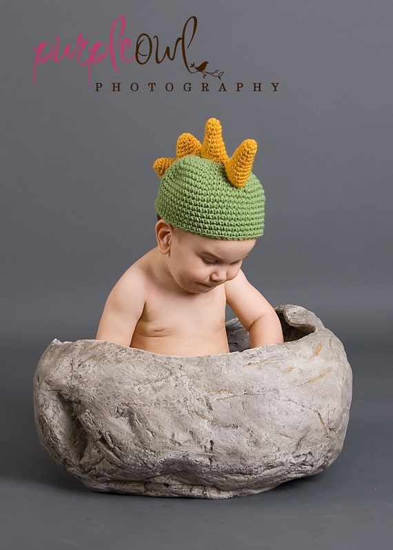 Free Crochet Pattern For Dinosaur Beanie : Dinosaur Beanie Hat Crochet Pattern PDF 004 Infant to