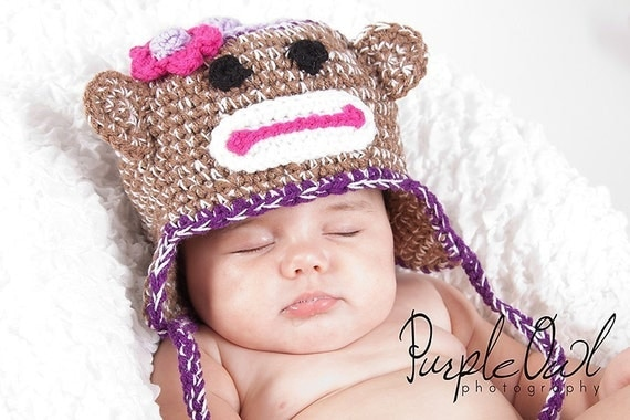 Girl Sock Monkey Hat - Any Size - Any Color Combo