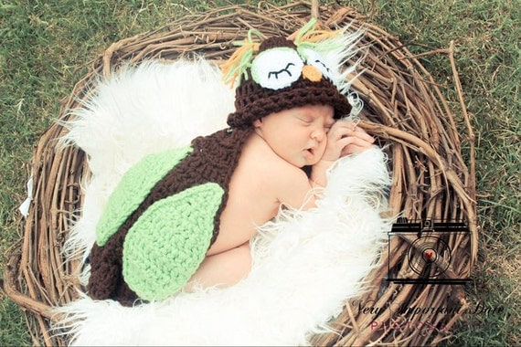 Owl Critter Cape - Choice of Hat - Newborn Photography Prop