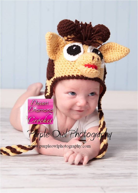 Giraffe Earflap Hat - Any Size - Any Color Combo