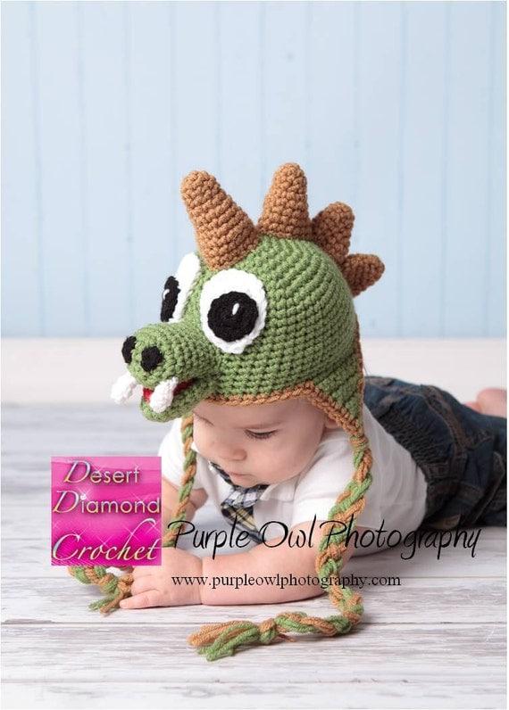 Dinosaur Earflap Beanie - Any Size - Any Color Combo