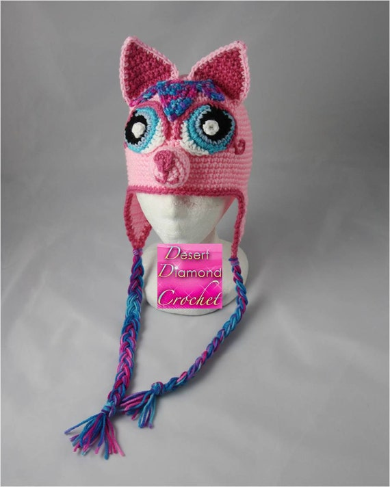 Crochet Pattern 032 - Pretty Kitty Earflap Beanie Hat - All Sizes