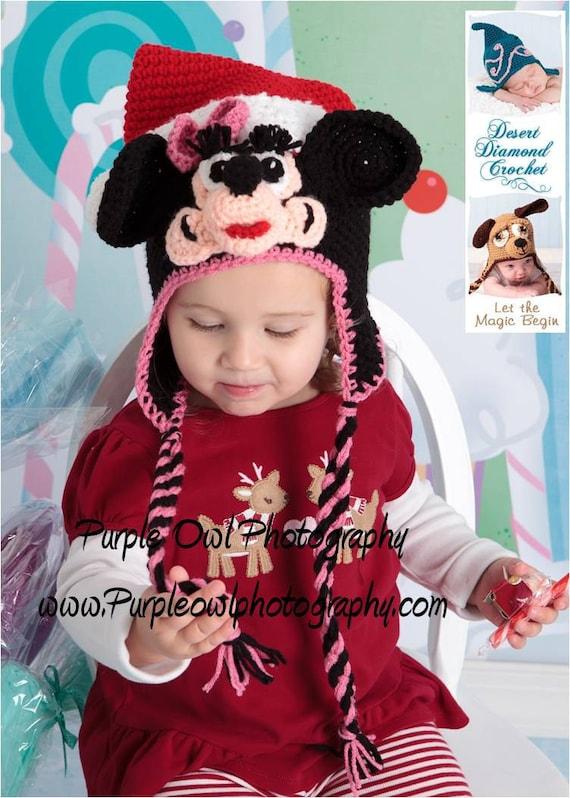 Crochet Pattern 041 - Mrs Santa Christmas Mouse Beanie Hat - All Sizes