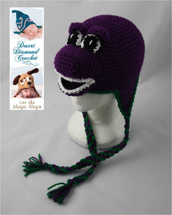 Free Crochet Pattern For Dinosaur Beanie : Crochet Pattern 050 Purple Dinosaur Beanie Hat by ...