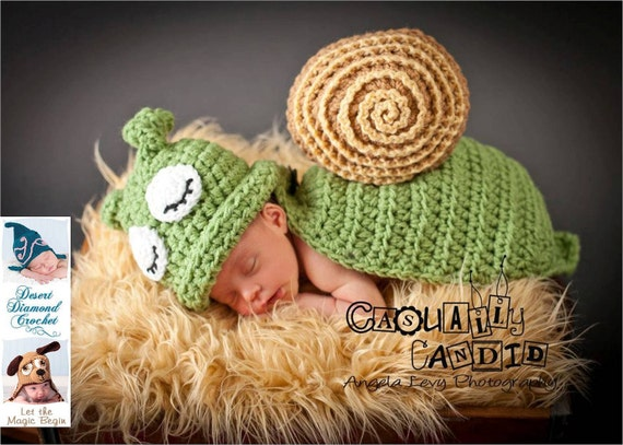 Crochet Pattern 031 - Snail / Slug Animal Cape Newborn Photography Prop