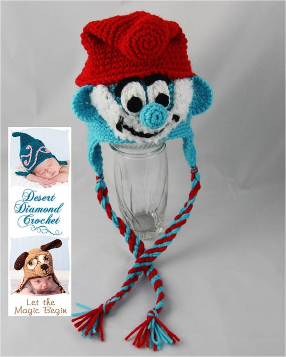 Crochet Pattern 058 - Grandpa Blue Gnome Beanie Hat - All Sizes