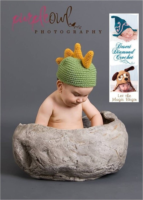 Crochet Pattern 004 - Dinosaur Beanie Hat- Infant to Adults
