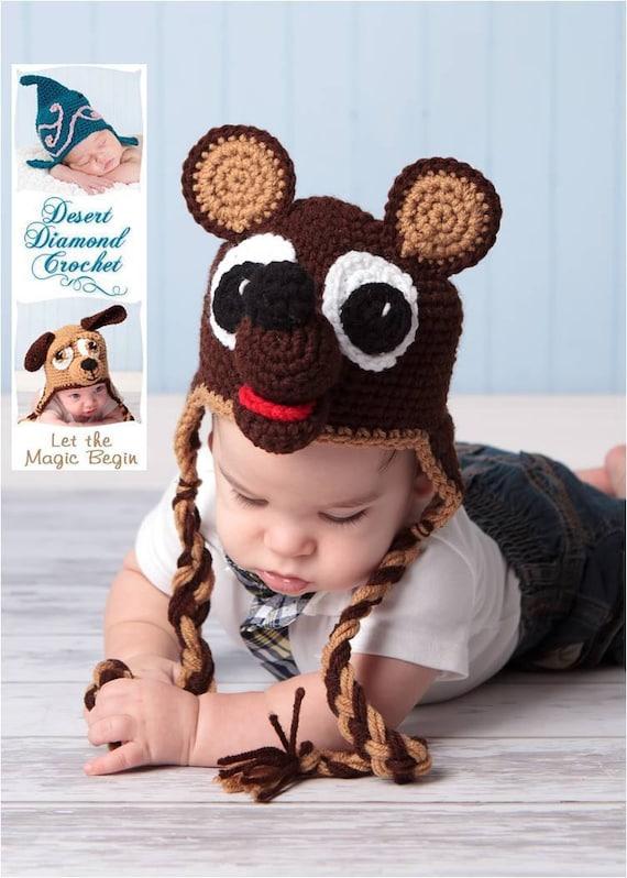 Crochet Pattern 006 - Teddy Bear Earflap Hat - All Sizes
