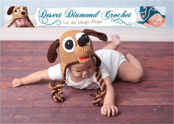 Crochet Pattern 007 - Puppy Earflap Beanie Hat - All Sizes