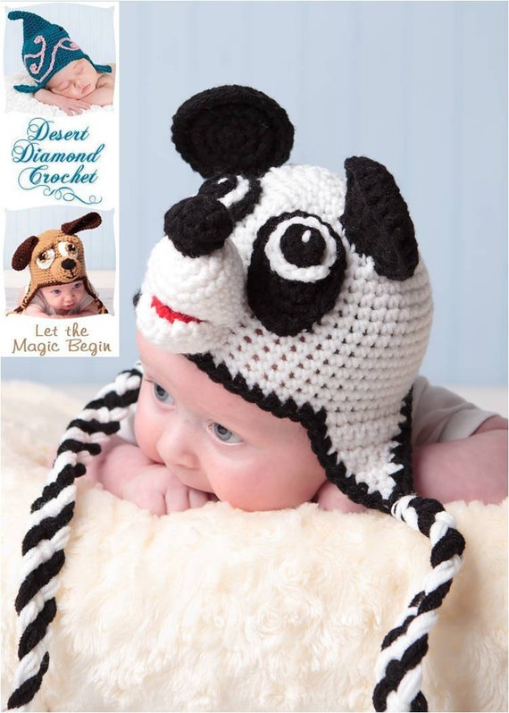 Crochet Pattern 012 - Panda Bear Earflap Beanie Hat - All Sizes