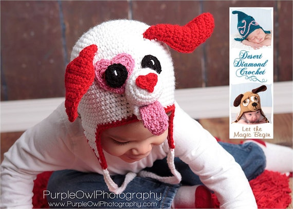 Crochet Pattern 051 - Valentine Puppy Love Earflap Beanie Hat - All Sizes