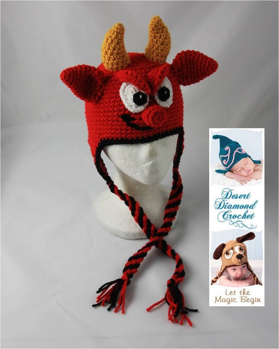 Crochet Pattern 054 - Lil' Devil Earflap Hat - All Sizes