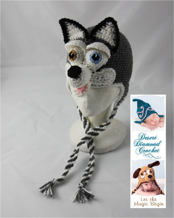 Siberian Husky Earflap Beanie - Made to order - any colors - any sizes