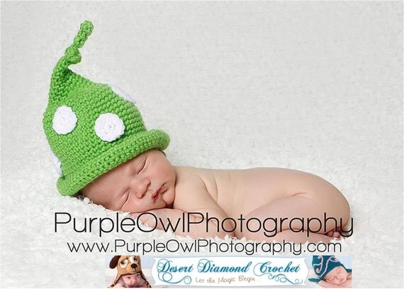 Crochet Pattern 063 - Polka Dot Gnome Beanie Hat - 0-3 Month, 3-6 Month