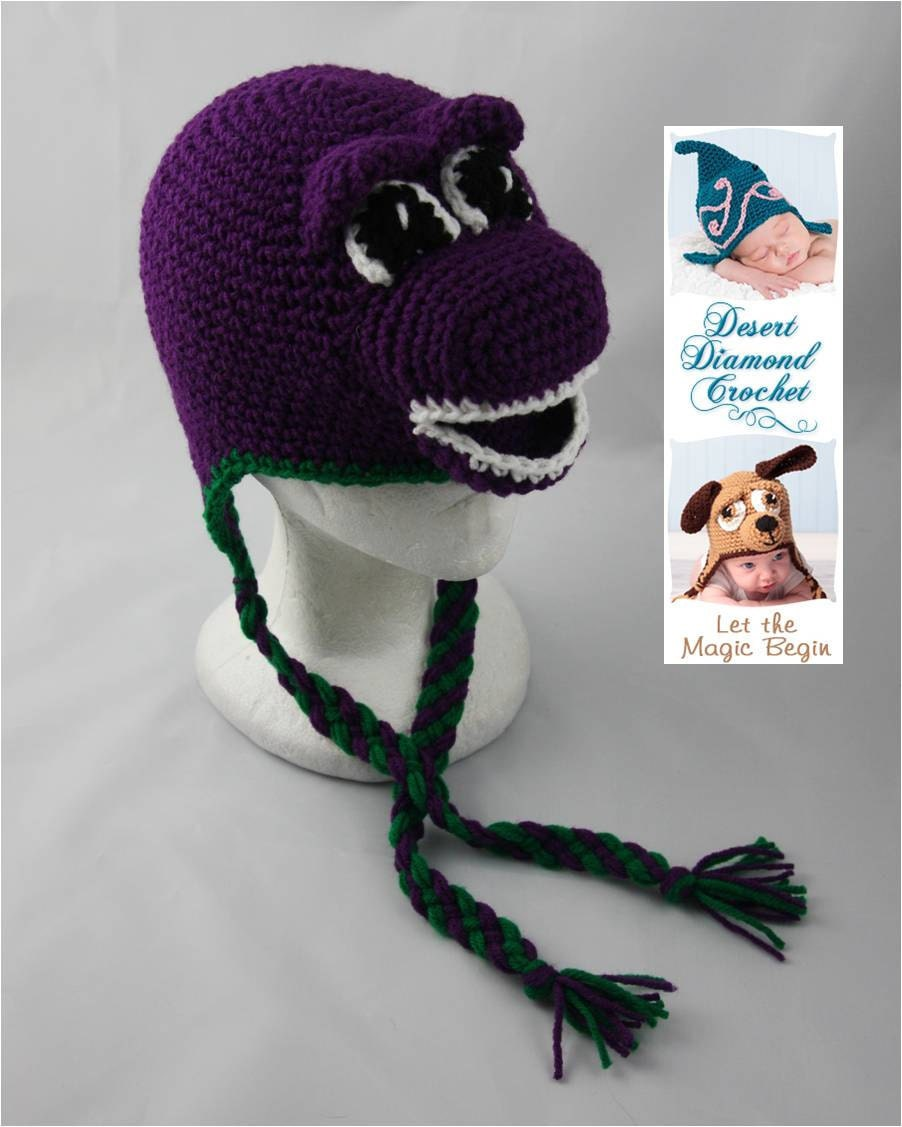 Crochet Baby Dinosaur Beanie Pattern : Crochet Pattern 050 - Purple Dinosaur Beanie Hat - All Sizes
