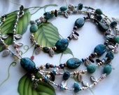 Turquoise  Stones, Shells, Glass Beads, Leaves and Daggers Lariate Necklace