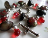 Reserved for Nikki - Red Czech Glass Pear Drops, Black Onyx Semi-Precious Stone Drops, Silvertone Round Beads, Red Glass Teardrops with Toggle Clasp Bracelet - One of a Kind