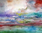 Original Watercolor Painting Abstract - Day's End