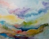 Original Watercolor Painting - Abstract 11x14 - Beach at Dusk