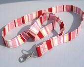 ID Badge Lanyard in Valentine Stripes