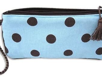 Wristlet- Polka Dots in Chocolate on Light Blue Clutch handbag