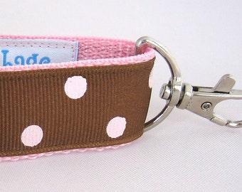 Key Fob - Chocolate with Pink Jumbo Dots Wristlet