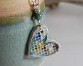 Heart Pottery Necklace J138 Glass Infused