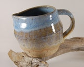 Pottery Pitcher Beach Blue With Bamboo Ceramic Handmade Serving Creamer