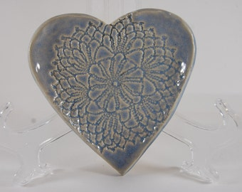 Pottery Heart Beach Blue With Lace Soap Dish or Trinket Dish or Spoon Rest