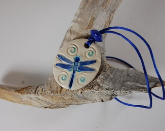 Blue Dragonfly Pottery Pendant Necklace J15