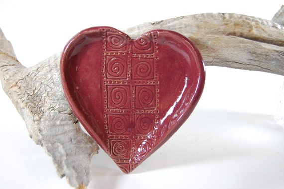 Heart Pottery Dish Soap Dish Trinket Jewelry Candle Holder