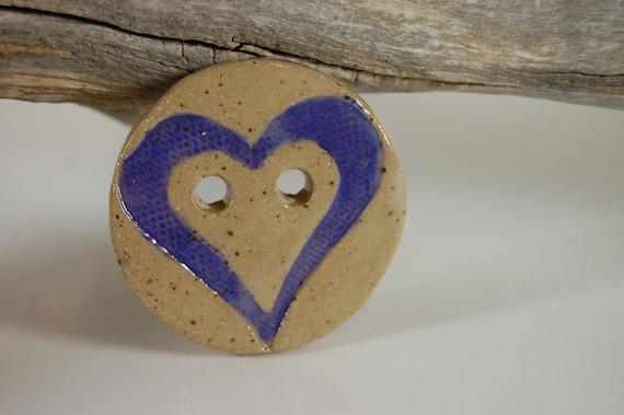 Heart Pottery Button Purple 68