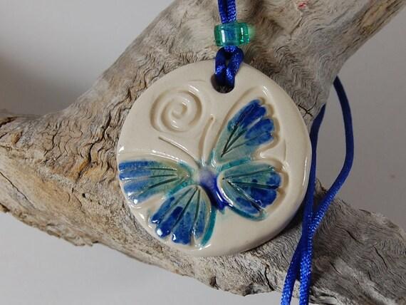 Pottery Pendant Necklace Blue Green Butterfly J131