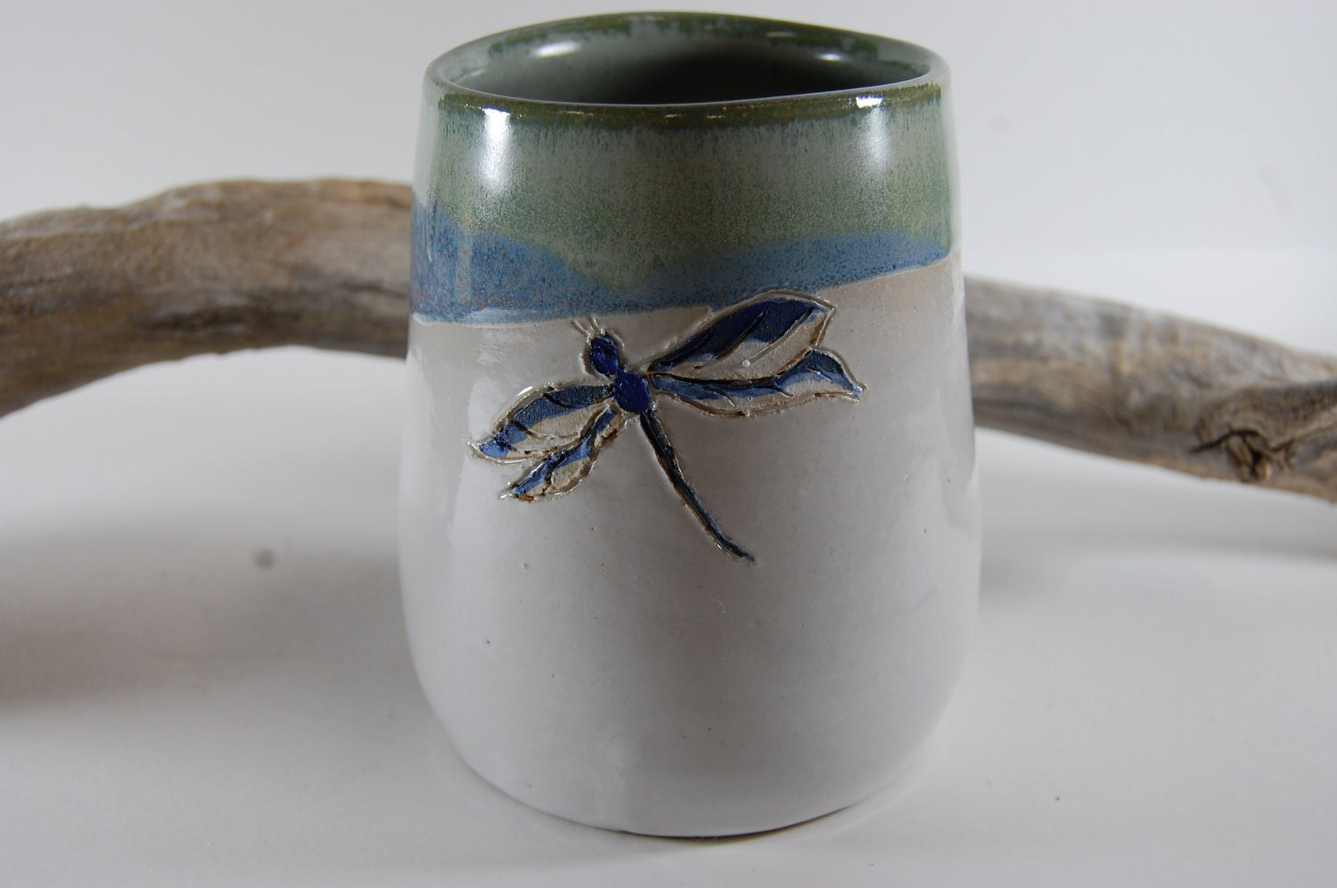 Dragonfly Pottery Utensil Holder Handmade Ceramic Vase Large