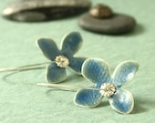 Periwinkle Blue Flower Earrings on Fine Silver with Glass Enamel and Sterling