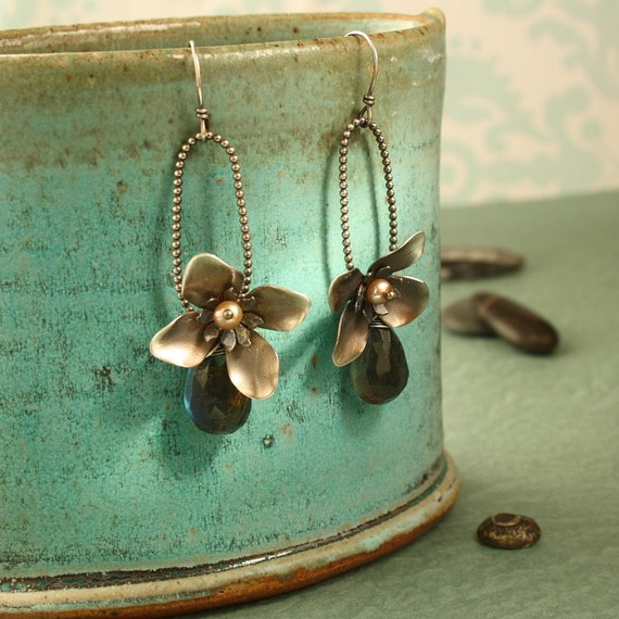 Sterling Flower Earrings with labradorite and Beaded Hoops