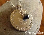 Hand Stamped Inukshuk Crystal Pearl Drop Charm Necklace by Carmen Bowe
