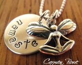 Sterling Silver Namaste Yoga Fairy Necklace by Carmen Bowe