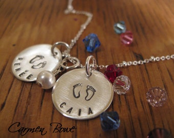 Its all about twins- custom sterling birthstone necklace by Carmen Bowe
