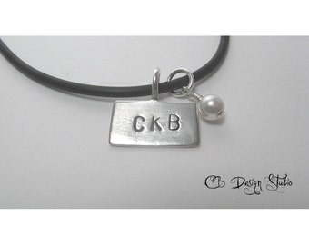 Sterling Silver Rectangle Pendant with Swarovski Crystal Necklace by Carmen Bowe