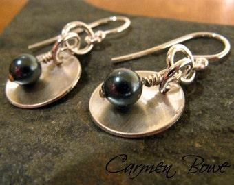 Little Silver Dome Earrings by Carmen Bowe