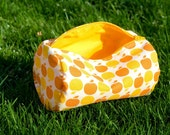 Reserved for Bea001 Orange and Yellow Apples Circle Zip Pouch for Makeup Toiletries and More