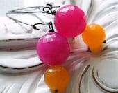 Sale - orange raspberry sorbet earrings. Last Pair