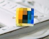 times square.  Crystal Aurora Borealis Swarovski Cocktail Ring