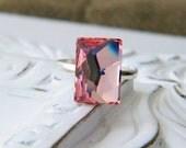 cosmic.  Light Rose Swarovski Cocktail Ring ..AS SEEN IN Belle Magazine..